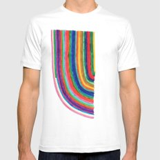 Curved Stripes MEDIUM White Mens Fitted Tee