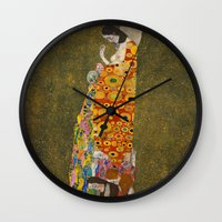 gustav klimt Wall Clocks featuring Gustav Klimt - Hope, II by ArtMasters