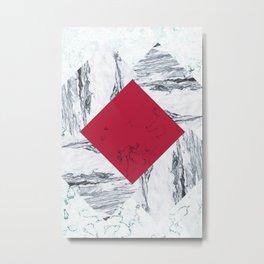 Red + Marble Metal Print
