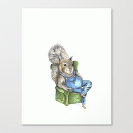 Squirrel with Jack-n-Coke.  Squirrel watercolor illustration, woodland creatures Canvas Print