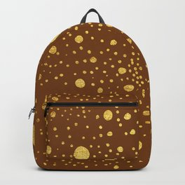 Gold leaf hand drawn dot pattern on brown Backpack