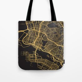 OAKLAND CALIFORNIA GOLD ON BLACK CITY MAP Tote Bag