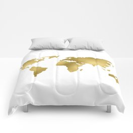 Gold Foil Map - Metallic Globe Design Comforters