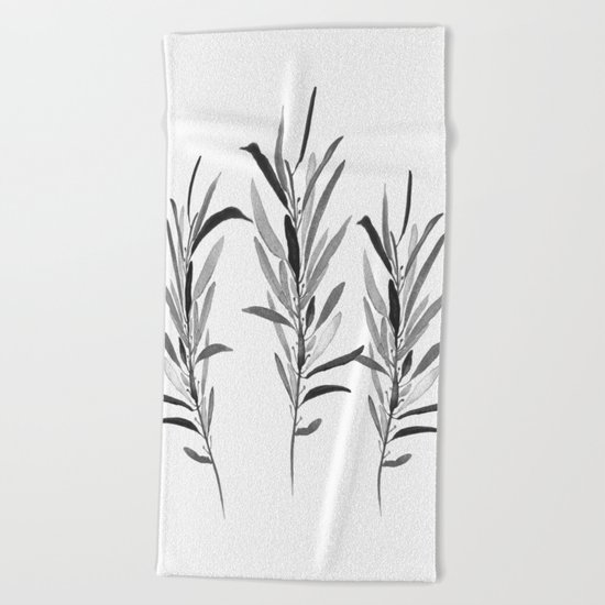 Eucalyptus Branches Black And White Beach Towel