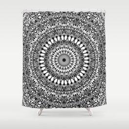 Grey Ornate Gravel Mandala Shower Curtain