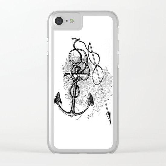 Anchor and harpoon. Clear iPhone Case