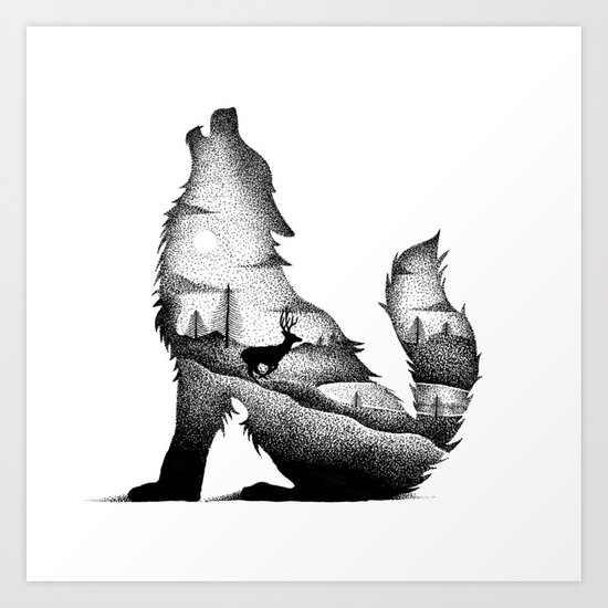 THE WOLF AND THE DEER Art Print