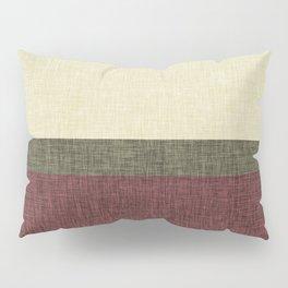 Tri Color Geometric Stripe Olive Green Red Wine Ecru Cream Burlap Print Pillow Sham