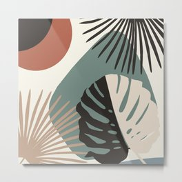 Minimal Yin Yang Monstera Fan Palm Finesse #1 #tropical #decor #art #society6 Metal Print