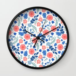Floral Pattern White Backgrund Wall Clock
