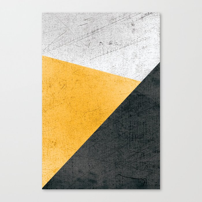 Modern Yellow & Black Geometric Leinwanddruck