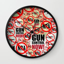No Guns, Gun Control Now on Map Wall Clock