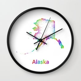 Rainbow Alaska map Wall Clock