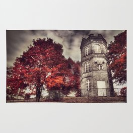 Red Tower of autumn, red trees in a park, old white tower building Rug