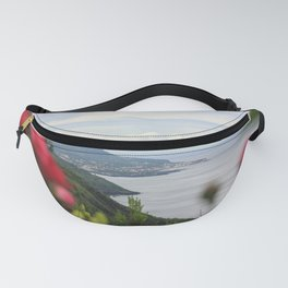 Landscape at the Azores islands, Pico island, view to the Atlantic ocean. Fanny Pack