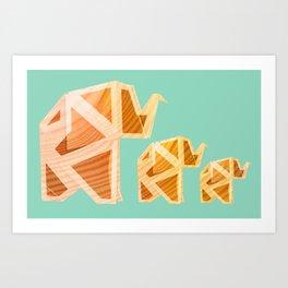 Wooden Origami Elephants Art Print