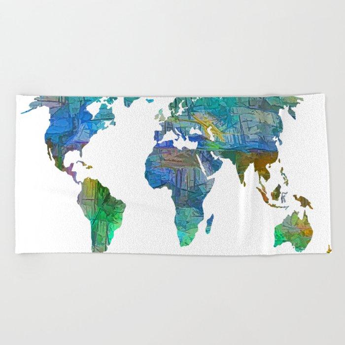 Blue World Transparent Map Beach Towel