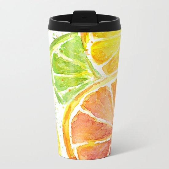 Fruit Watercolor Citrus Metal Travel Mug