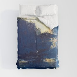 Halo [2]: a minimal, abstract mixed-media piece in blue and gold by Alyssa Hamilton Art Comforters