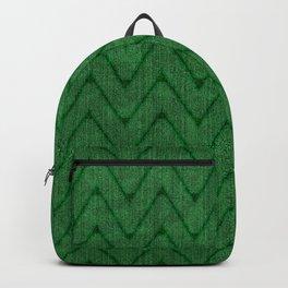Faux Suede Kelly Green Chevron Pattern Backpack