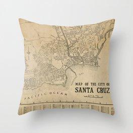 Santa Cruz Vintage Map Throw Pillow