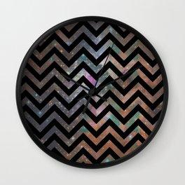 Abstract black pink teal watercolor nebula chevron Wall Clock