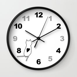 Numbers Clock Wall White Cat Wall Clock