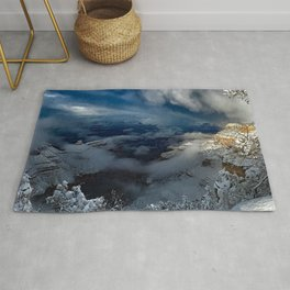 Winter scene with snow at the Grand Canyon Rug