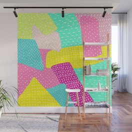 Modern summer rainbow color block hand drawn patchwork pattern illustration Wall Mural