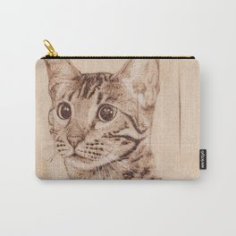 Bengal Cat Portrait - Drawing by Burning on Wood - Pyrography art Carry-All Pouch