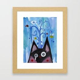 Crying Kitty Blue Framed Art Print