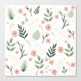 Spring Floral Botanical Pattern in Blush Pink, Green, and White Canvas Print