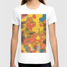 vintage psychedelic geometric painting texture abstract in orange yellow brown blue T-shirt