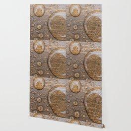 Water Drops on Wood 3 Wallpaper