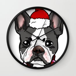 Boston Terrier Dog Christmas Hat Present Wall Clock