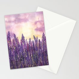 Lavender Field At Dusk Stationery Cards