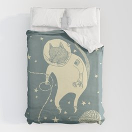 Sleepy Blue Space Cat Proves String Theory Duvet Cover