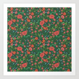 Scarlet poppies with clover and bluebells Art Print