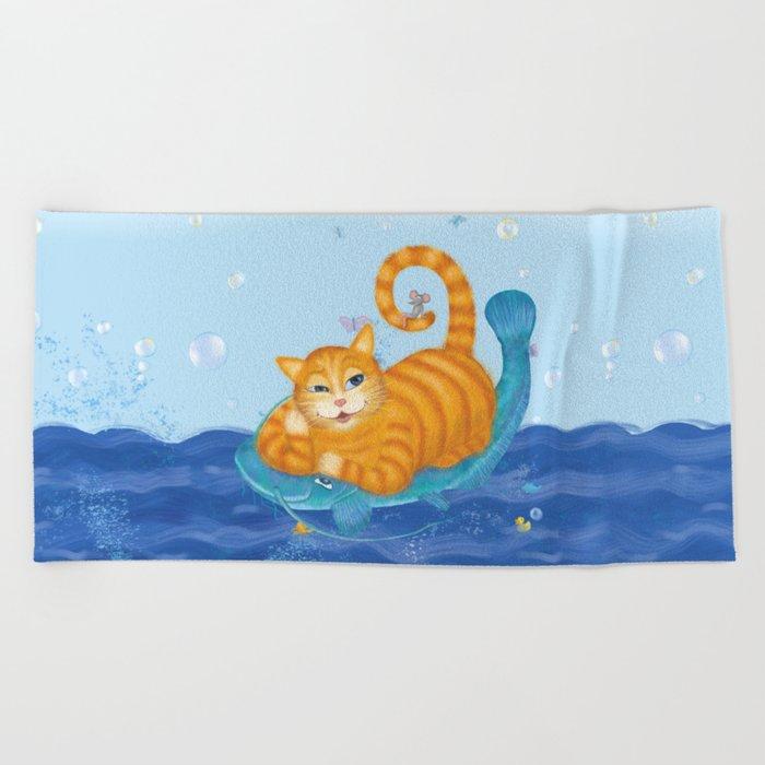 Orange tabby cat & blue catfish  Funny kids illustration Beach Towel