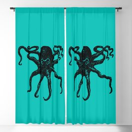 From the Deep Aqua - Octopus by Seasons Kaz Sparks Blackout Curtain