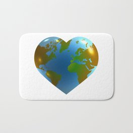 Globe in the shape of heart Bath Mat