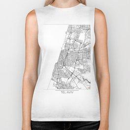 Tel Aviv Map White Biker Tank
