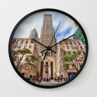 fifth element Wall Clocks featuring Fifth Avenue by June Marie