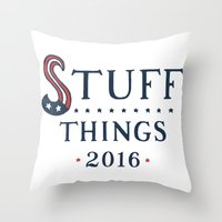 politics Throw Pillows featuring Politics? by Zach Higgins