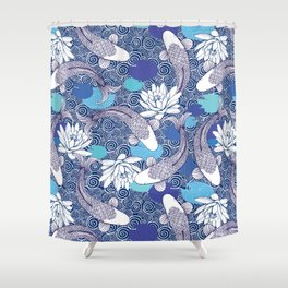 Blue Koi Ripples Shower Curtain