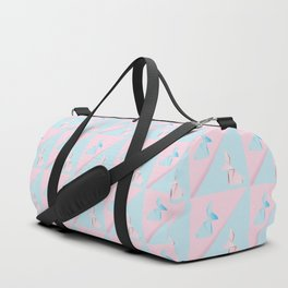Pink and blue origami rabbit Duffle Bag