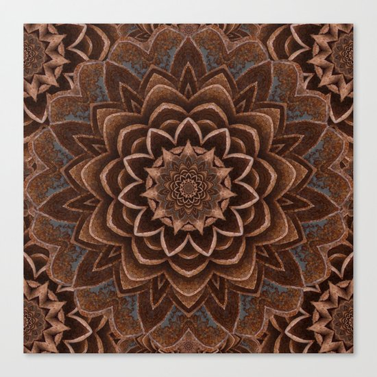 Coffee Shimmer Mandala Canvas Print