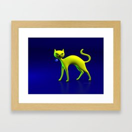 The Yellow Cat And Glass Blue Cherry Framed Art Print