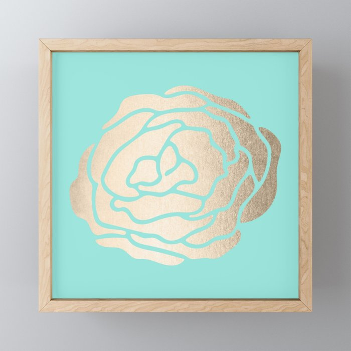 Rose in White Gold Sands on Tropical Sea Blue Framed Mini Art Print