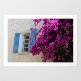 Window with pink flowers, Grimaud France Art Print